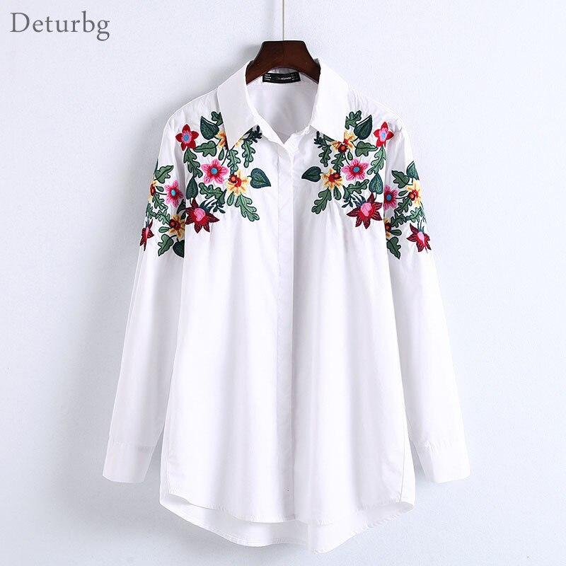Las mujeres de Nueva Moda Floral Blusa Bordada Desgaste de la Oficina Femenina L