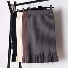 7128f6351d Skirts Womens Winter Knitted Skirt Ruffle Ladies Women Elegant Pencil Midi  Skirt High Waist Jupe Femme