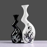 Nowoczesne wyposażenie domu ozdoby ceramiczne Czarny i biały kolor dekoracji ceramiki wazony skręcone z motywem kwiatowym