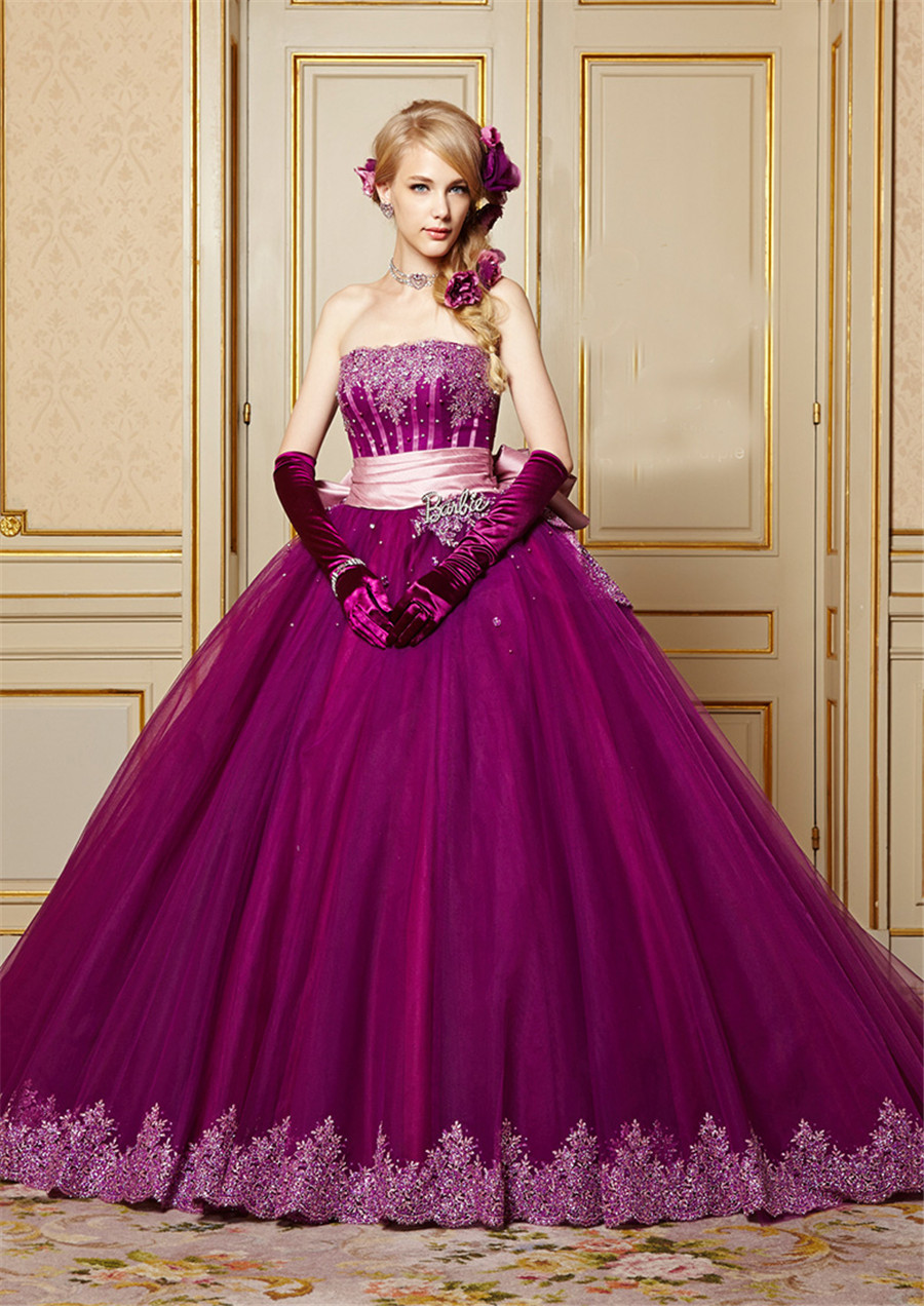 Strapless applique lace with crystals purple wedding dress for Purple lace wedding dress