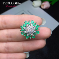 Trendy Natural Emerald Rings for Women Wedding more Genuine gemstones White Gold color Fine jewelry 925 Sterling Silver #444