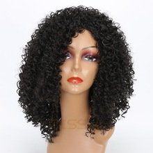 MISS WIG 16inch long Synthetic False Hair Afro Wig Short wigs for Black Women Kinky Curly Wigs miss peregrine s home for peculiar children miss perry green cosplay wig eva green black short curly hair wigs