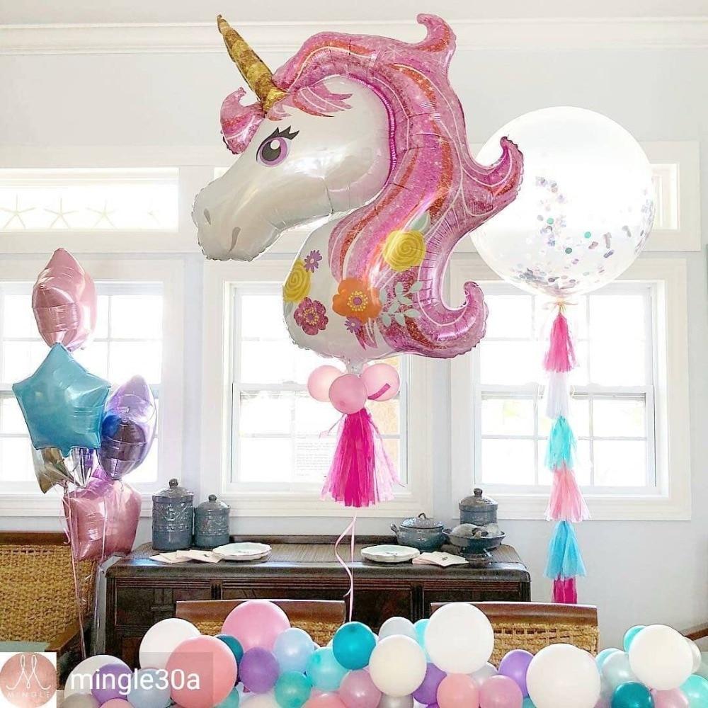117*87cm Large Birthday Balloons For Baby Shower Favors Pink Unicorn Head Aluminium Foil Balloons Unicorn Party Decorations cartoon