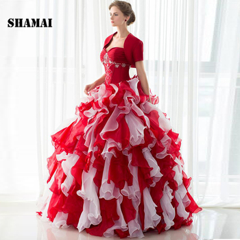SHAMAI Wine Red With White Ruffles Prom Ball Gowns Quinceanera Dresses Beading Wedding Party Dresses With Short Sleeve Jacket