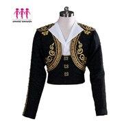 Черный балетный Топ для мальчиков, Мужская балетная верхняя одежда, мужская балетная куртка, испанский балетный сценический танцевальный к