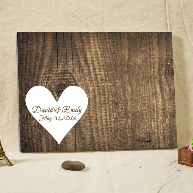 rustic wedding guest book alternative heart wood grain framed