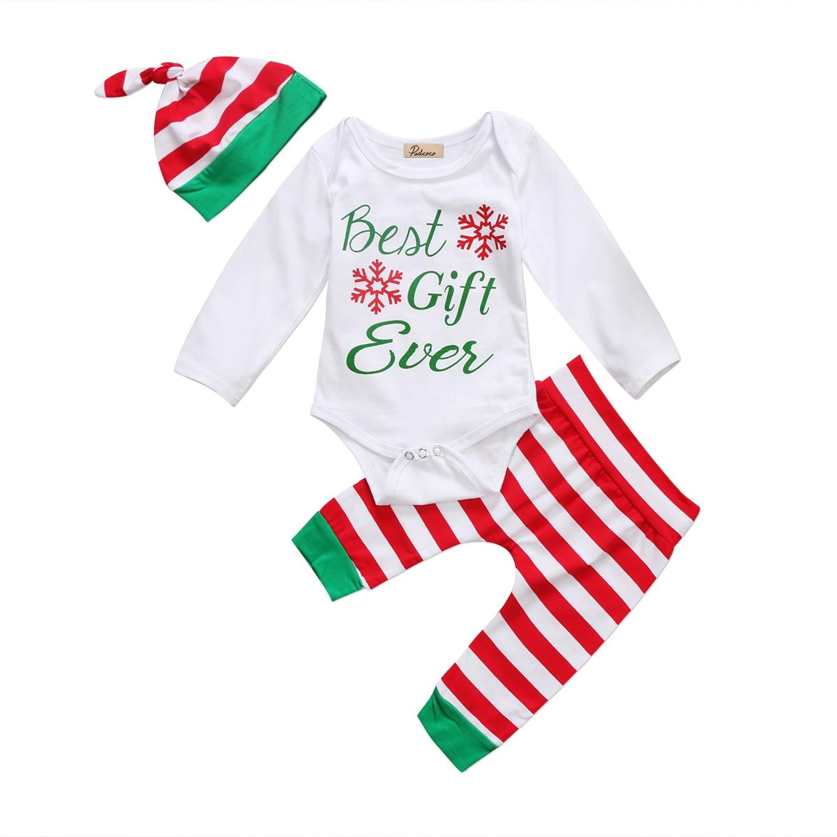 3Pcs New Christmas Newborn Toddler Baby Boys Girls Tops Best Gift Bodysuit Pants Hat Cap Outfits Set Clothes 0-18M