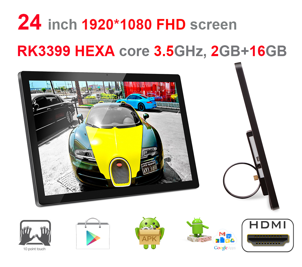 HEXA core 24 polegada Android7.1 toque Tudo em um pc (RK3399, 3.5 GHz, 2 GB DDR3, 16 GB nand flash, 2.4G/5G wifi, 100 m/1000 m ethernet)