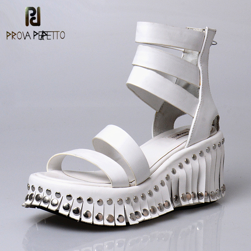 Prova perfetto New Arrive White Leather Platform Wedge Sandals Shoes For Women Ankle Strap Rivets Fringe Hidden Wedge Sandals цена 2017