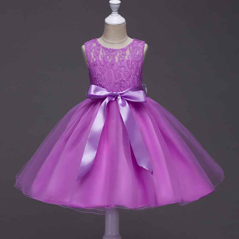 Girls Lace Dress Flower Girl Princess Dresses for Wedding Party Purple Gown Party Dress Costume For Kids Girl Robe Fille Enfant lace flower girl dress europe and the united states style silk belt princess kids dresses girls party dress for 2 8t