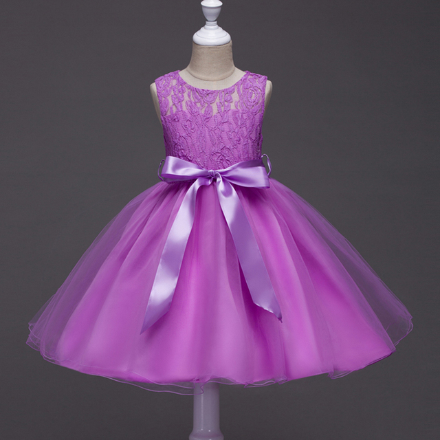 Girls Lace Dress Flower Girl Princess Dresses For Wedding Party Purple Gown Costume