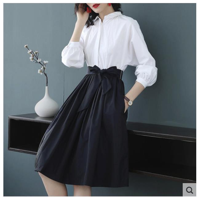 2019 primavera y verano nuevo collage camisa falda de manga de murciélago, cuerpo delgado gran lugar en la cintura larga vacaciones dos vestidos