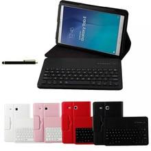 Para samsung galaxy tab e 9.6 t560 t561 tablet abs desmontable teclado bluetooth ultra slim stand case cubierta de cuero cartera