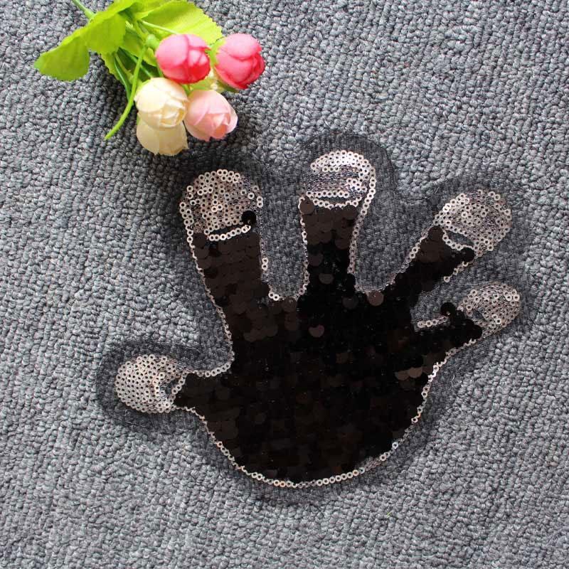 Plam sequined applique vintage embroidered patch applique 2pcs/lot