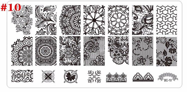 cm Template Prego de Aço Inoxidável Manicure ferramentas Stencil