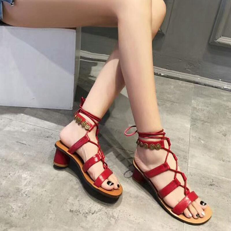 2018 New gladiator sandals women flat sandals flat shoes women leather sandals women Cross-Strap Rome Lace-Up size 35-40 цена 2017