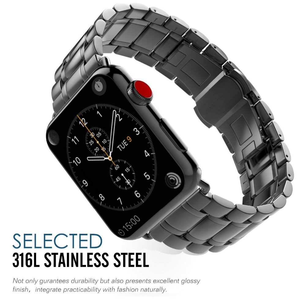 Stainless Steel strap For Apple watch band 42mm 38mm Iwatch series 3 2 1 Link bracelet wristband butterfly buckle watchband diamond stainless steel band for apple watch 38mm 42mm series 3 2 1 replacement strap band for iwatch with butterfly buckle
