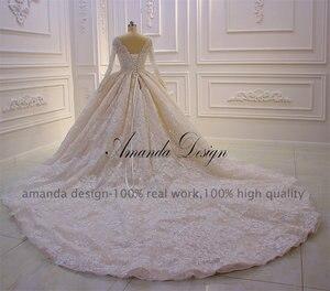 Image 5 - カスタムメイドブライダルドレス高品質長袖レースクリスタルウェディングドレス高級