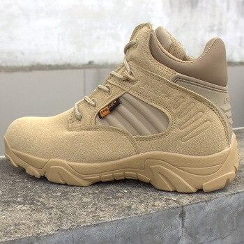 Pria Delta Militer Sepatu Taktis Berkualitas Tinggi Tahan Air Non-Slip Perjalanan Luar Ruangan Hitam Pria untuk Pria Hiking sepatu