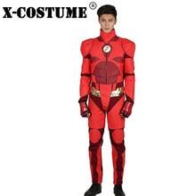 X-COSTUME PU leathe Suit Justice League Flash Costume Orange  Top+High-waisted Pant Cosplay anime Dress Superman s Suit Superhero 4639e00511fe