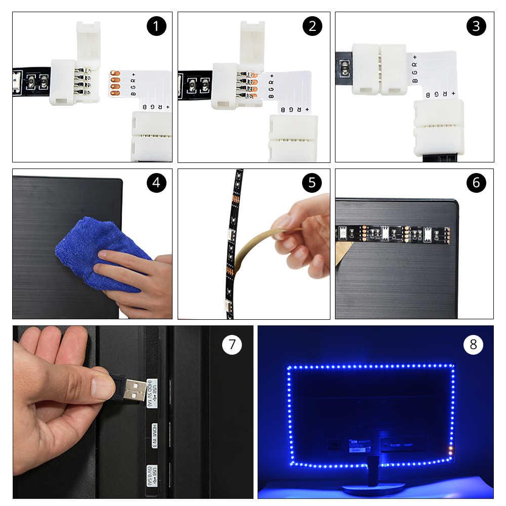 1 متر 2 متر 3m LED إضاءة خلفية للتلفاز RGB النيون مصباح 5050SMD LED قطاع ضوء للتلفزيون HDTV إضاءة خلفية مع 24 مفاتيح التحكم عن بعد