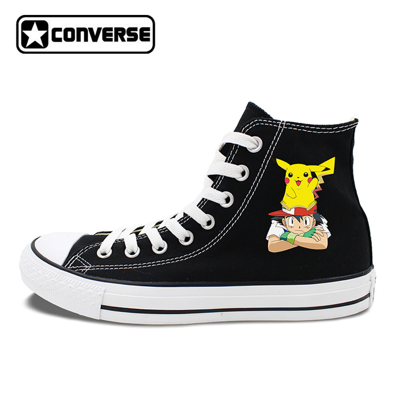 Design Anime Shoes Black White Converse All Star Ash Pikachu Pokemon Sneakers Canvas Skateboarding Shoes for Men Women women men converse all star canvas shoes vocaloid hatsune miku expo design hand painted sneakers skateboarding shoes gifts