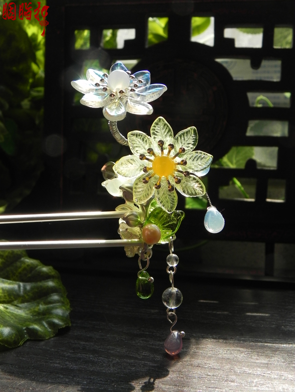 Daisy opal crystal classical hair stick vintage original handmade hanfu hair accessory daisy hair stick with tassel pink crystal double layer classical hair stick vintage hair accessory hair stick hanfu hair accessory