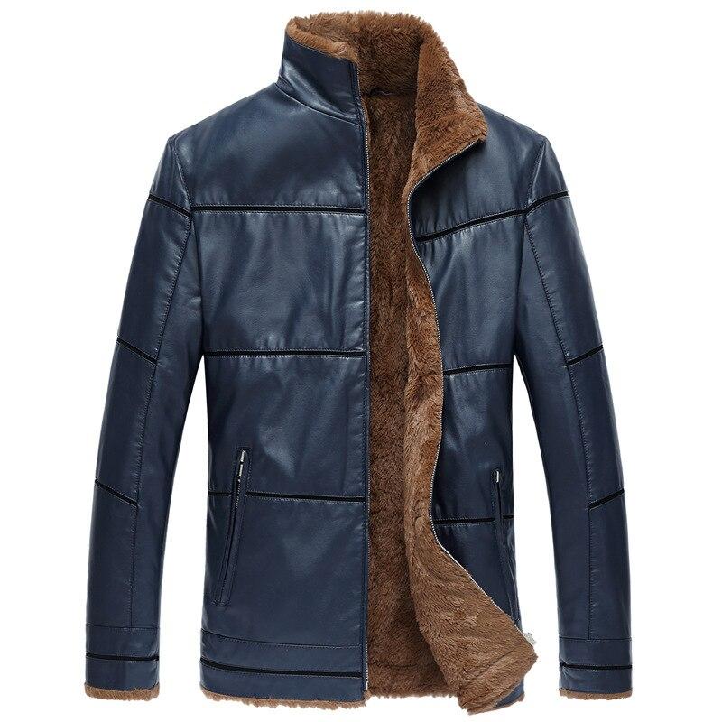D'hiver Bordée Brun 8xl Cuir Grande En Mode Black Fourrure 7xl Faux Hiver Fausse Veste Hommes blue Taille 6xl brown De Manteaux Px0waq58a
