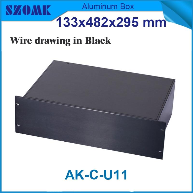 Black color U 19 rack aluminum junction housing case 133(H)x482(W)x295(L) 1 piece 3 u chassis rack mount chassis aluminum project box aluminum enclosure 132 h x482 w x250 l mm