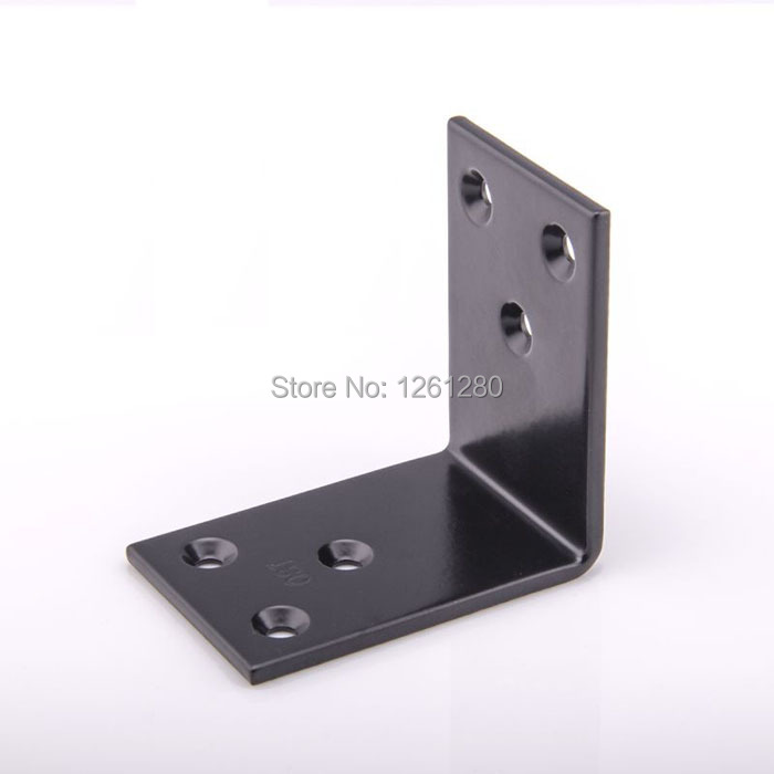 free shipping 60mm metal corner black L style iron furniture fitting thicken Connector hardware DIY part Reinforcement household free shipping lstyle wall bracket furniture fitting bed corner hanger buckle sheet mirror frame hook diy picture hardware part