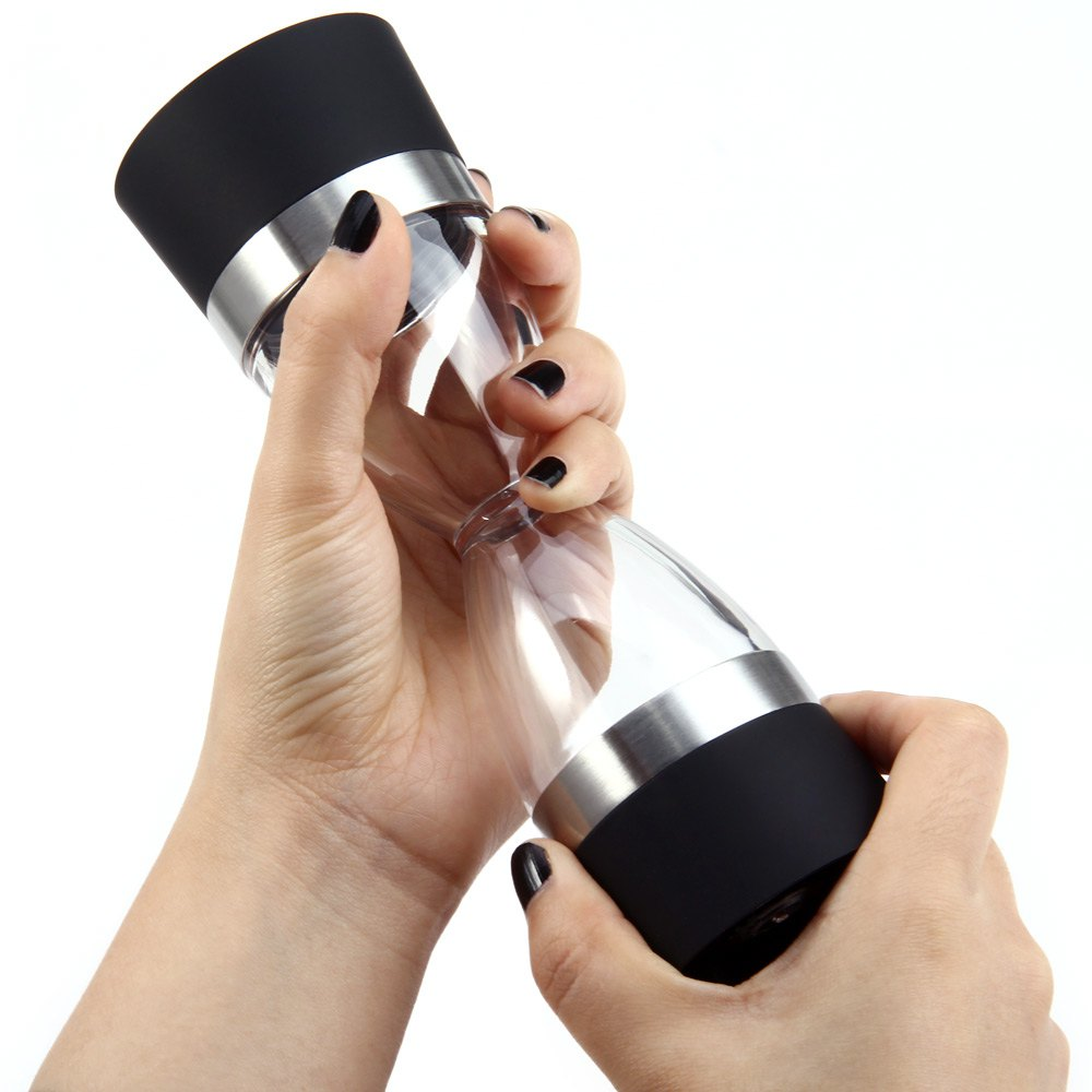 Manually 2 in 1 Hourglass Shape Dual Salt Pepper Mill Spice Grinder Pepper Shaker for Kitchen Cooking Tools Easy to Clean CA(China)