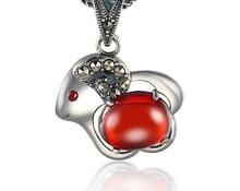 Новый стерлинг 925 серебряный кулон гранат ювелирные изделия формы ягненка женский тайский серебряный кулон pingente де прата esterlina