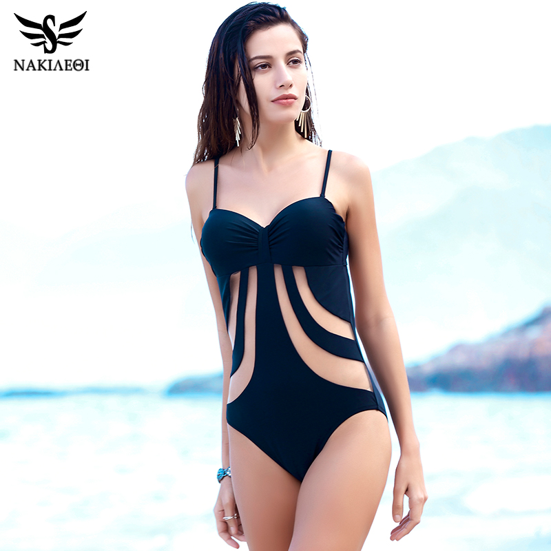 NAKIAEOI Official Store NAKIAEOI 2017 Sexy One Piece Swimsuit Women Swimwear Bodysuit Mesh Strap Summer Beach Bathing Suit Monokini Swimsuit Black XL