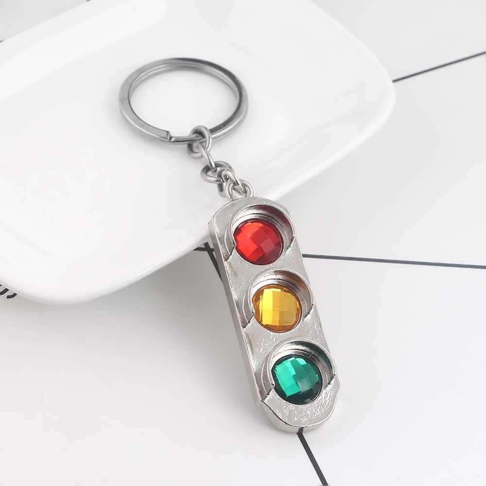 Hot Verkeerslicht Sleutelhanger Rood En Groen Geel Verkeerslicht Hanger Sleutelhangers Voor Vrouwen Mannen Auto Sleutelhanger Sieraden Gift