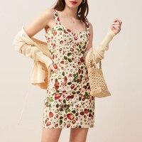 Sexy Strawberry Print Mini Dress Women 2019 Summer Sheath Holiday Sundress Female Spaghetti Strap Short Bandage Sexy Dress