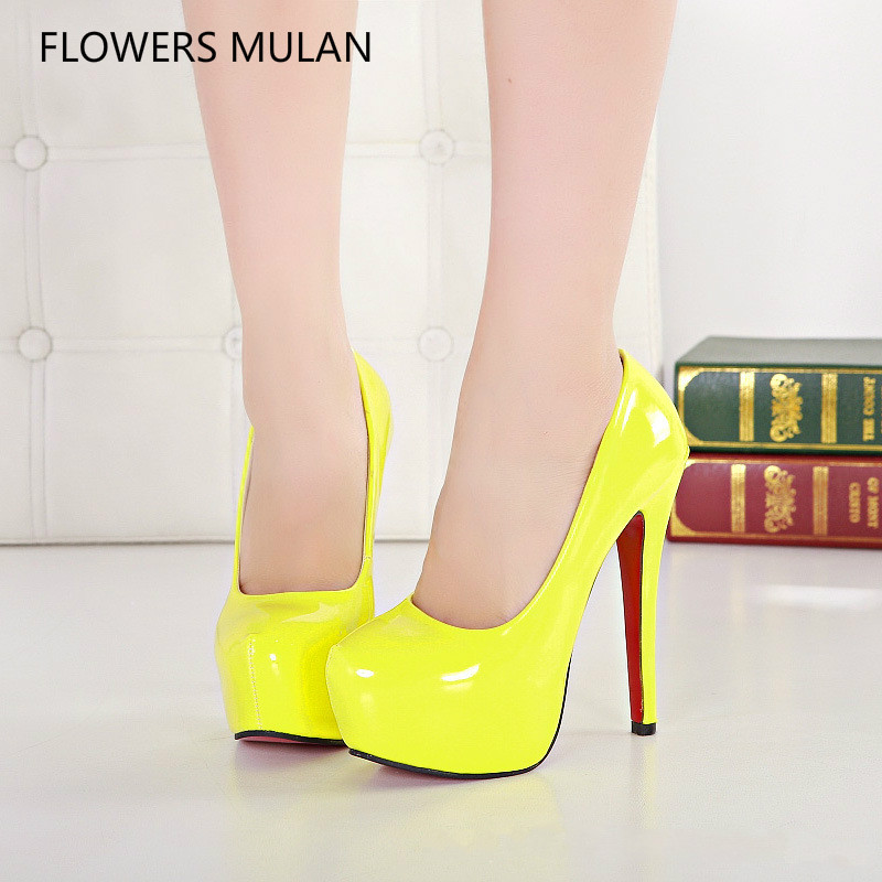 Spring New Luxury Patent Leather Upper Super High Heels Platform Shoes Woman Pink Yellow Black White Red Pumps Wedding Shoe Girl vinyl pet dog shoe squeaker toy yellow black white pink