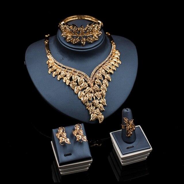 LAN дворец бижутерия Parure bijoux femme кристалл цвет золотистый украшений ожерелье Стад серьги кольцо Браслеты Бесплатная доставка