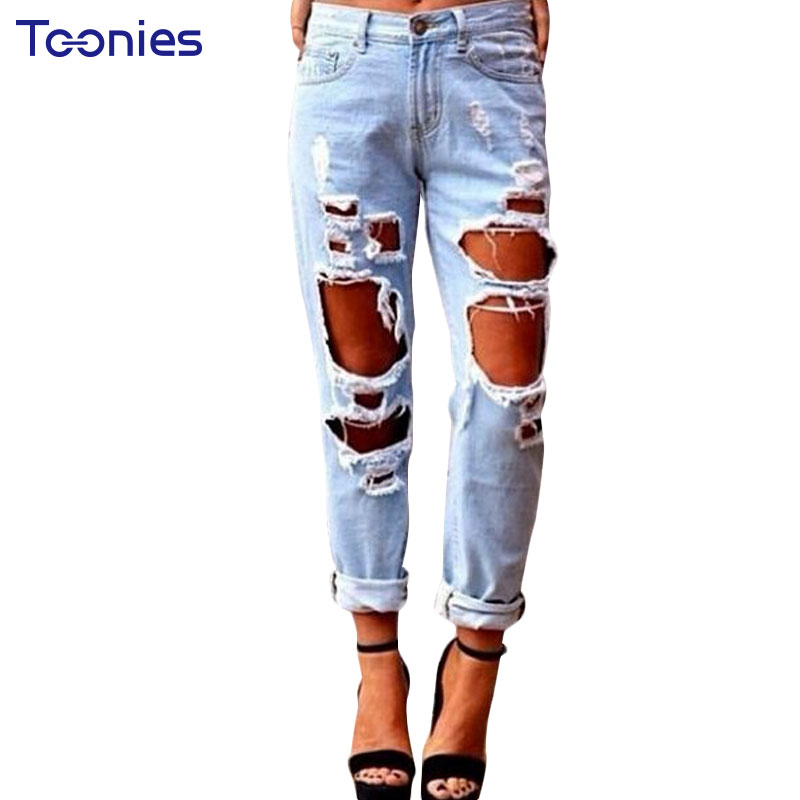 Boyfriend Hole Ripped Jeans Women Pants Europe and the United States Loose New Sexy Exaggerated Vintage Straight Jeans Trousers  цены онлайн