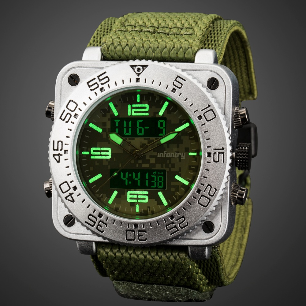 Analog Digital Military Tactical Square Big Watches For Men