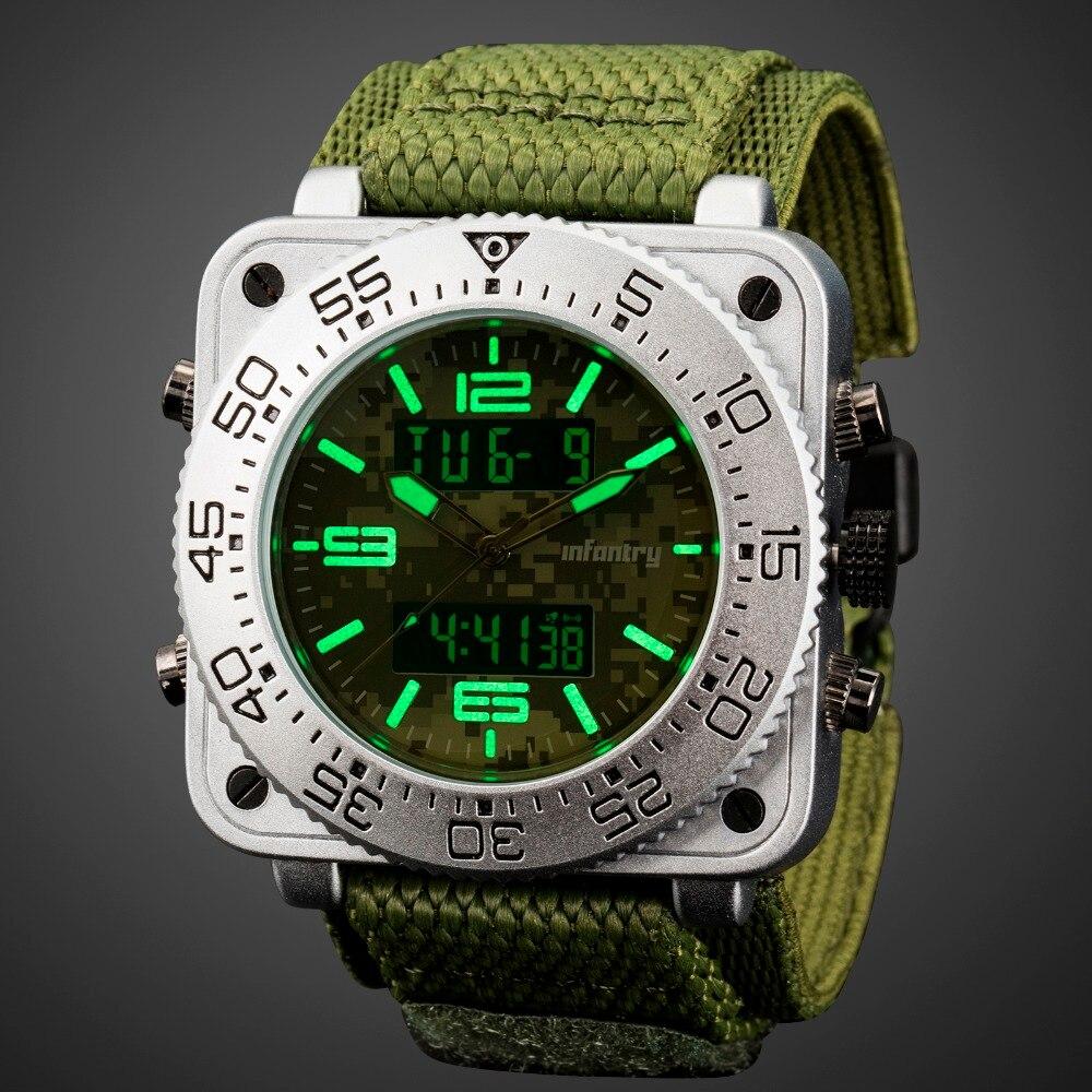 歩兵メンズ腕時計トップブランドの高級アナログデジタルミリタリー腕時計メンズ戦術的なスクエアビッグ腕時計男性レロジオ Masculino  グループ上の 腕時計 からの クォーツ時計 の中 1