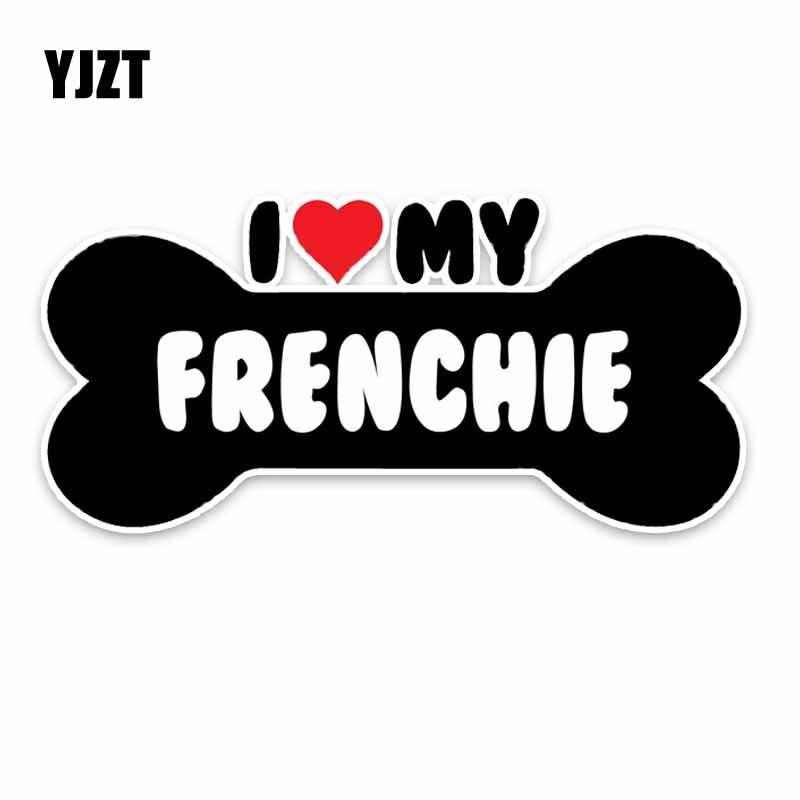 YJZT 15*7.1CM I Heart My Frenchie Bulldog Bone PVC Car Bumper Car Sticker Decals C1-4174