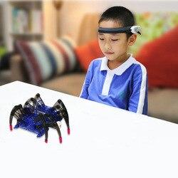 Brinquedos educativos das crianças cérebro onda de rádio idéia controle diy aranha inteligência robô brinquedos cérebro onda detector1 + brinquedo aranha
