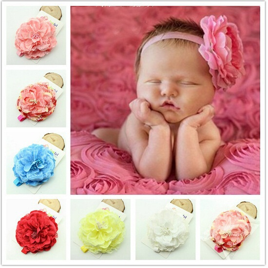Retail Pink Baby Headbands Big peony Flower Headband Infant Children hair accessories Photo Prop photography prop 1pc HB192
