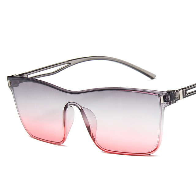 Sunglasses Women Conjoined Spectacle Lens Brand Design Rimless Ocean Clear Lens Sun Glasses Oculos De Sol UV400