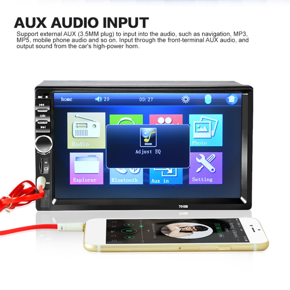 New 7018B Bluetooth Audio In 7 Inch Touch Screen Car Radio Car Audio Stereo MP3 MP5 Player USB Support for SD/MMC pws5610s s 5 7 inch hitech hmi touch screen panel pws5610s s human machine interface new in box fast shipping