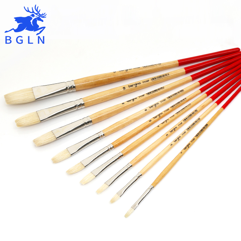 BGLN Flat Oil Paint Brush Mix Size Solid Wooden Pole For Drawing Oil Acrylic Watercolor Painting Brush Art Supplies 7110F in Paint Brushes from Office School Supplies