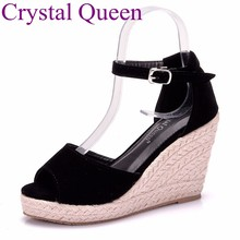c9482fba Tamaño grande 32-43 zapatillas Mujer Sandalias tacones altos cuñas  plataforma sandalias 9 cm Sandalias