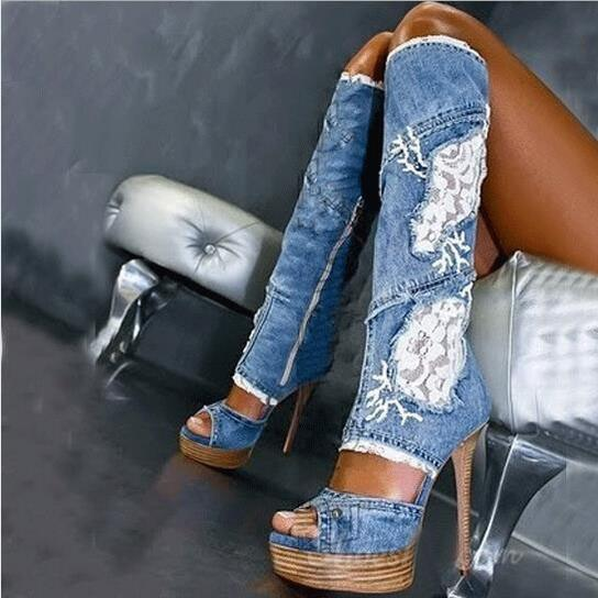 Летом Модные Ботинки Новые Синие Джинсы, Кружева Цветок Колено Высокие сапоги Открытым Носком Вырезы Гладиатор Сандалии Сапоги Высокие Каб