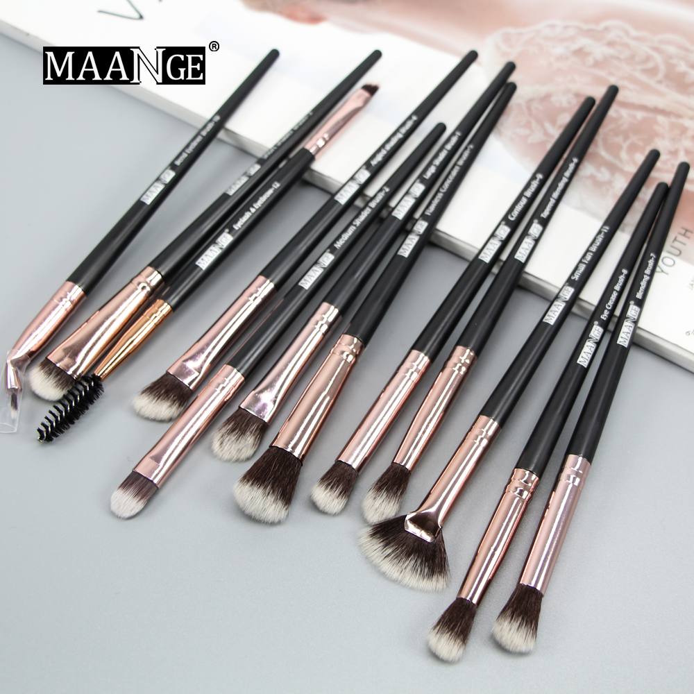Image 4 - MAANGE New Pro Makeup Brushes Set 12 pcs/lot Eye Shadow Blending Eyebrow Eyelash Eyeliner Brushes pincel Maquiagem For Makeup-in Eye Shadow Applicator from Beauty & Health