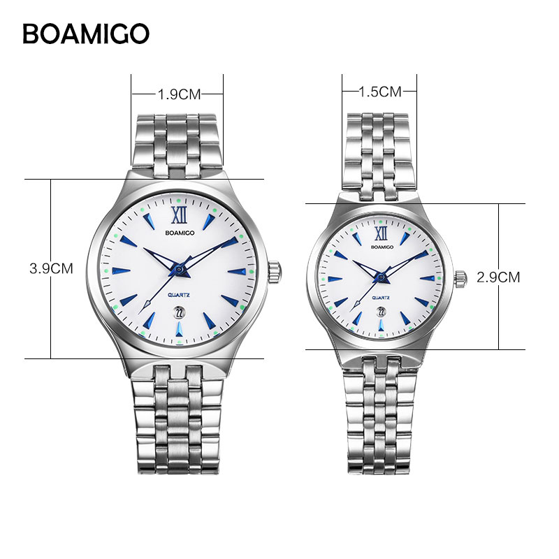 BOAMIGO Top Brand Couple Watches Men Quartz Watch Full Steel Date Women Lover Gifts Wristwatches Stainless White Black Watches